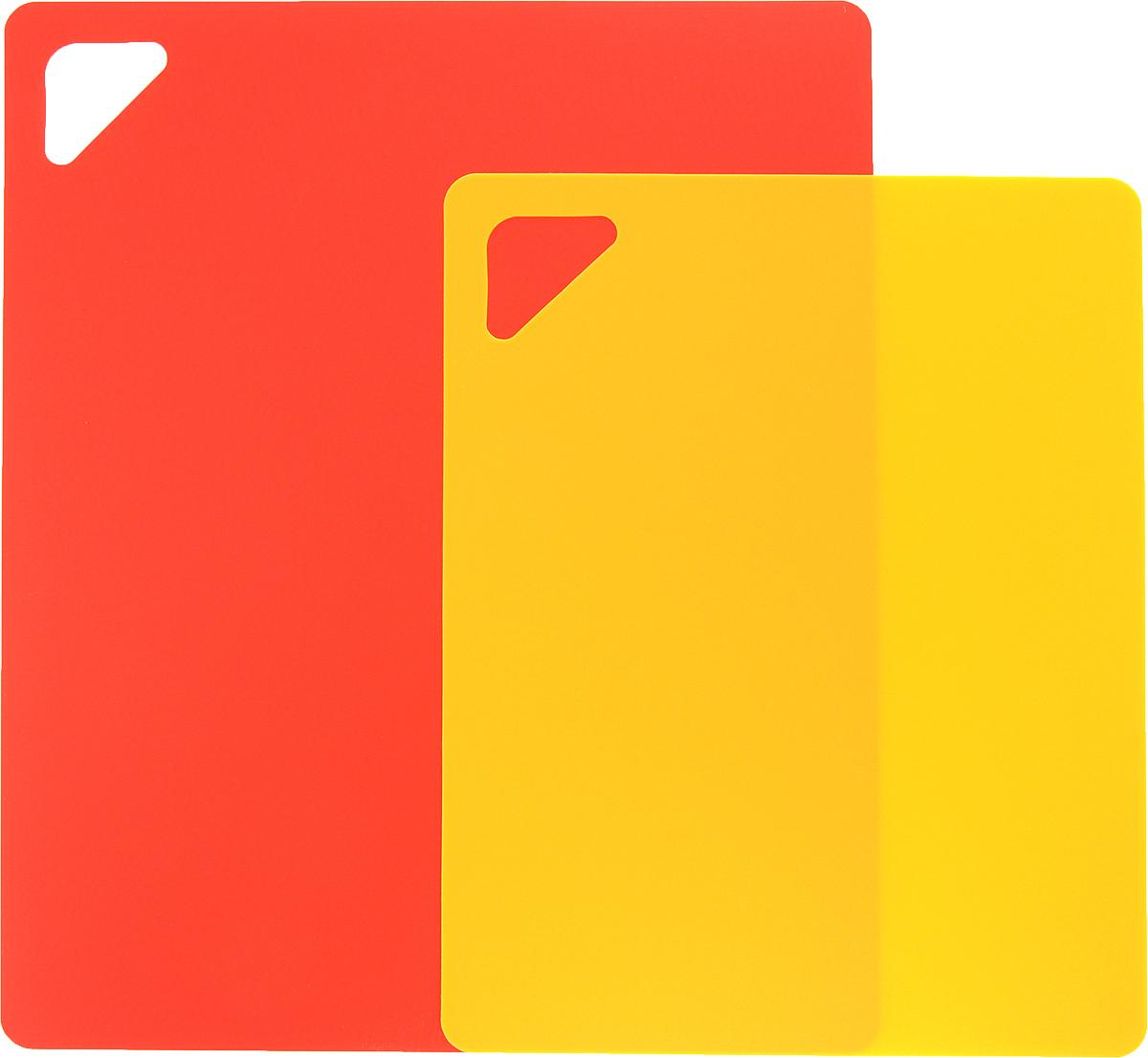 Разделочная доска Домашний Сундук, гибкая, цвет: красный, оранжевый, 2 штДС-176_красный,оранжевыйРазделочная доска Домашний Сундук, изготовленная из гибкого полиэтилена, прекрасно подходит для разделки всех видов пищевых продуктов. Не вступает в химическую реакцию, не выделяет вредных веществ, предотвращает размножение болезнетворных микроорганизмов на поверхности доски. Разделочная доска плотно прилегает к любой поверхности стола или столешницы и не скользит.Порадуйте себя и своих близких качественным и функциональным подарком.
