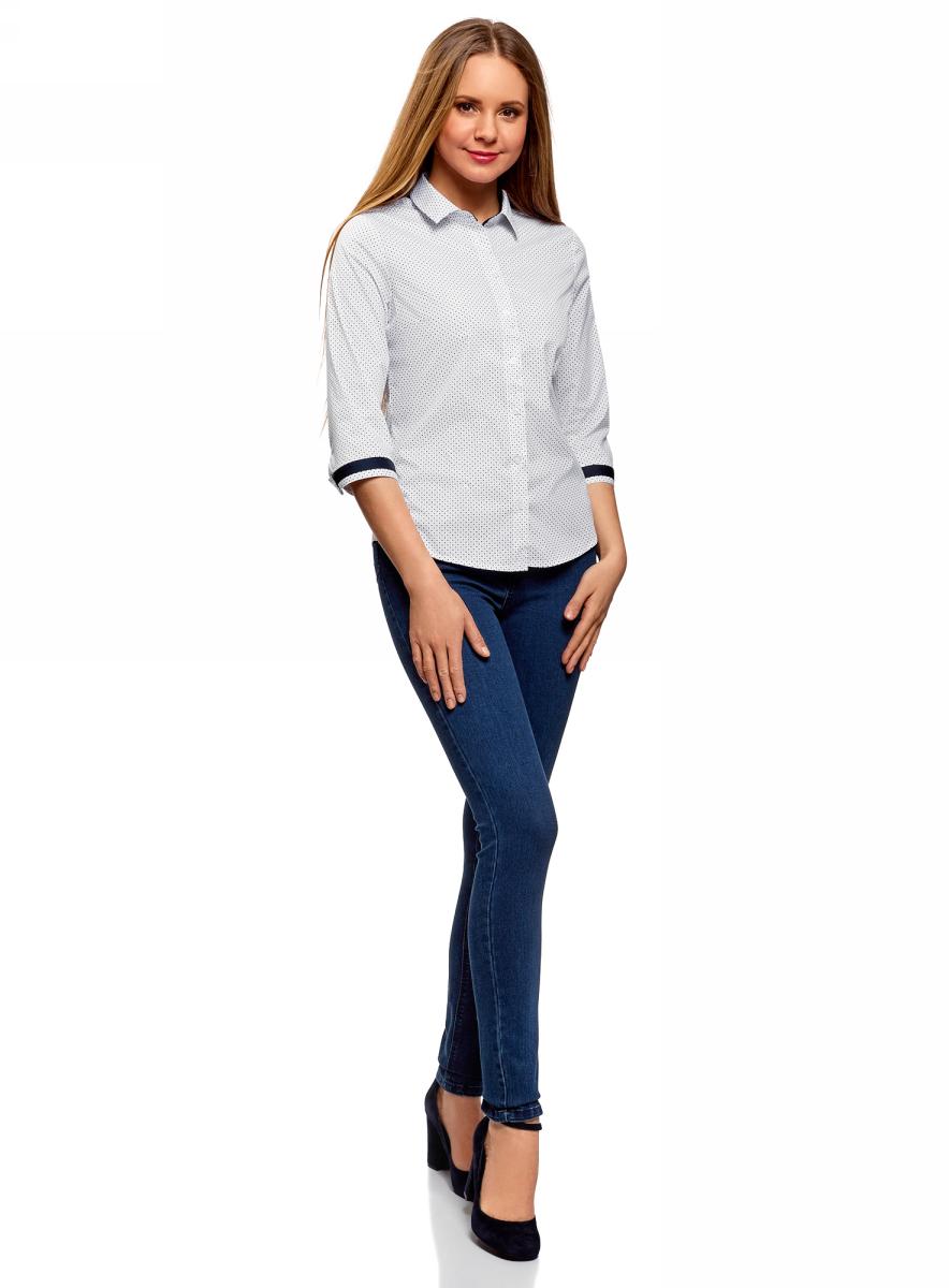 Купить Блузка женская oodji Ultra, цвет: белый. 13K03005B/26357/1079D. Размер 34 (40-170)
