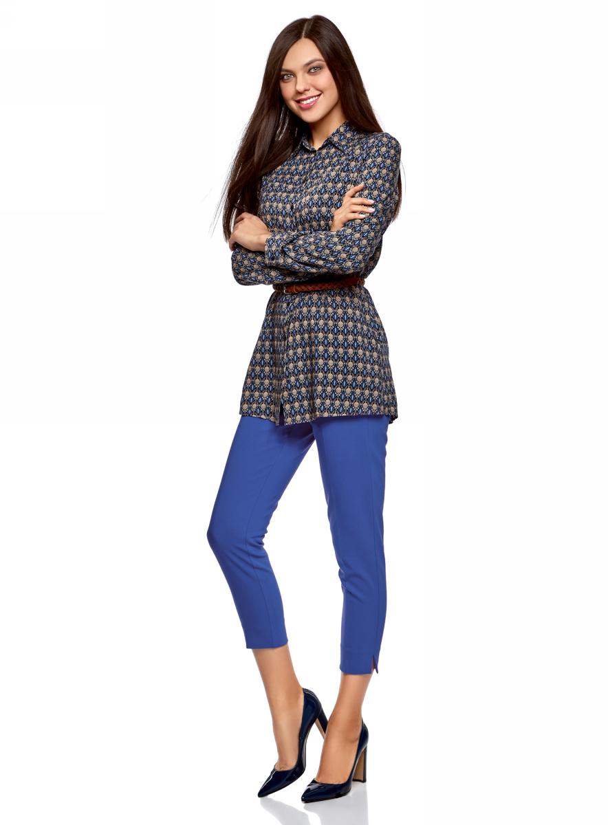 Брюки женские oodji Collection, цвет: синий. 21706022-5B/35589/7501N. Размер 40 (46-170)