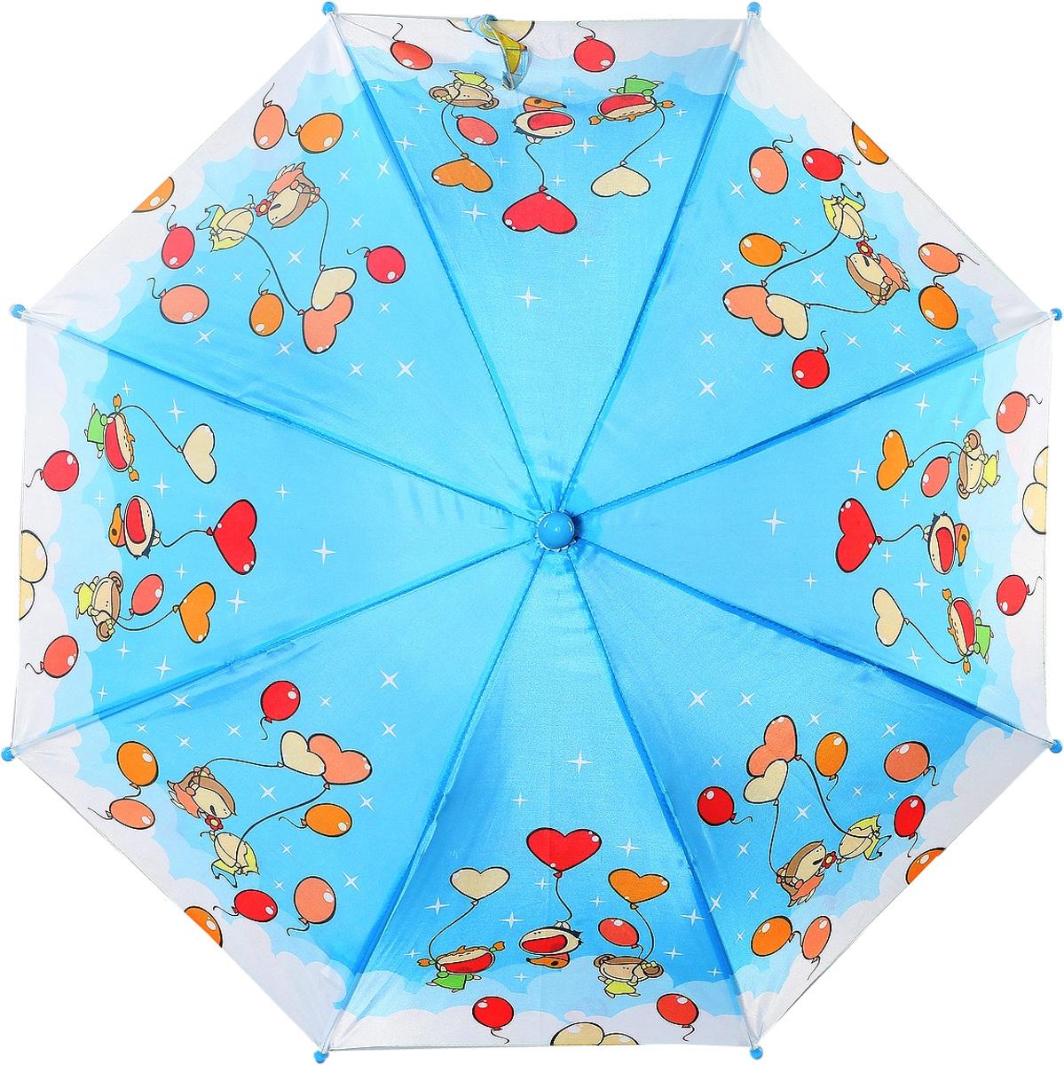 Зонт-трость детский ArtRain, автомат, цвет: голубой, красный, оранжевый. 1651-13