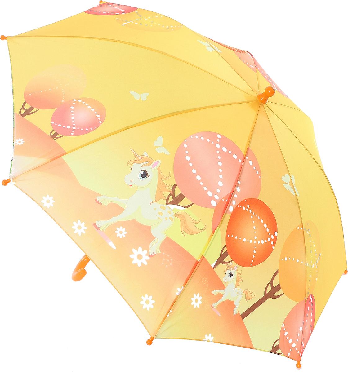 Зонт-трость детский ArtRain, автомат, цвет: светло-желтый. 1651-10