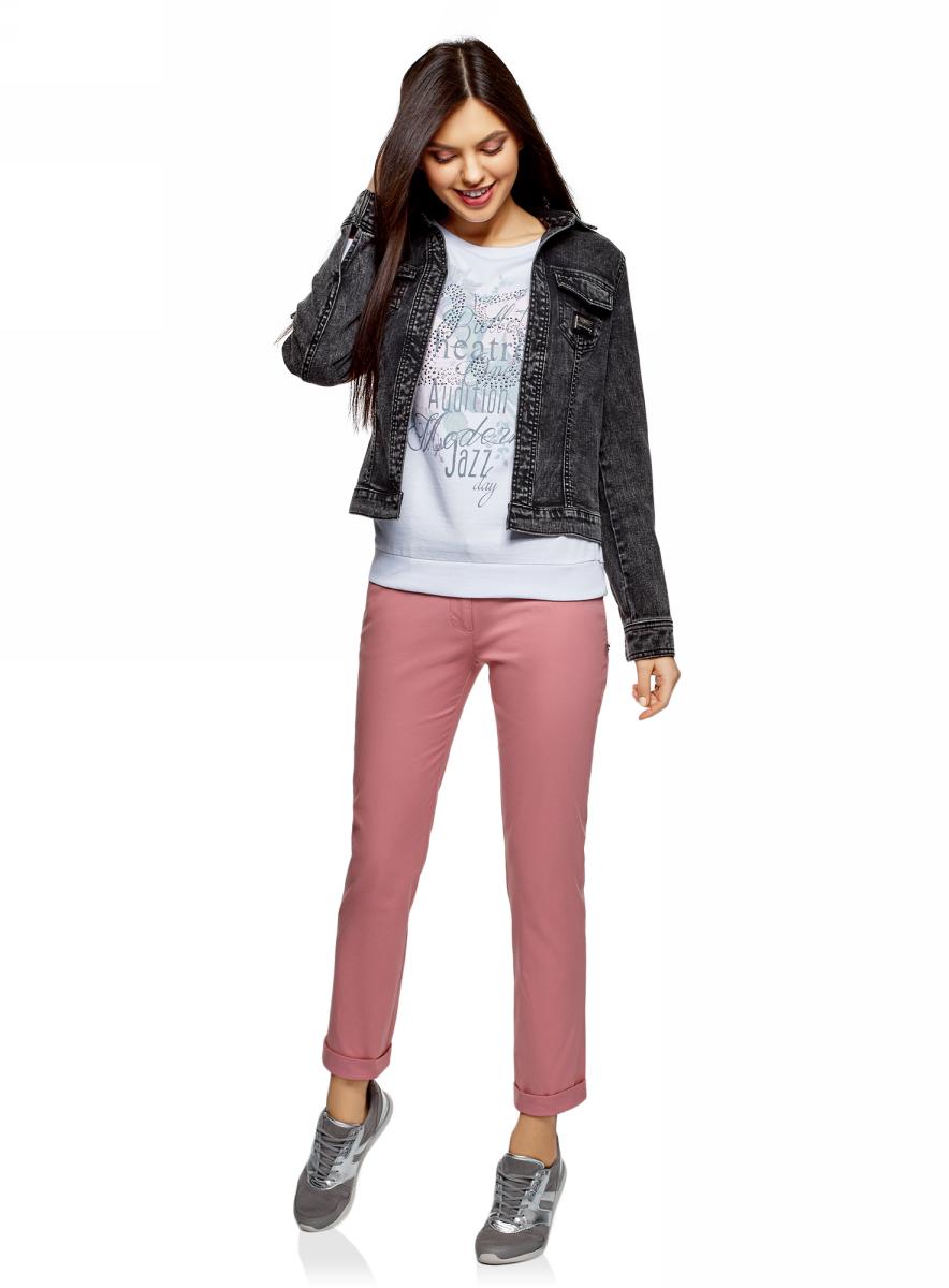 Купить Брюки женские oodji Ultra, цвет: розовый. 11706190-5B/32887/4B00N. Размер 34 (40-170)