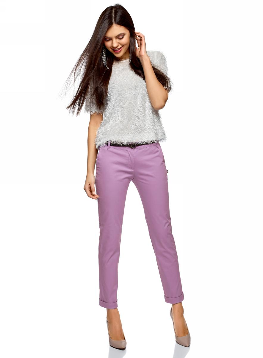 Купить Брюки женские oodji Ultra, цвет: сиреневый. 11706190-5B/32887/8000N. Размер 34 (40-170)