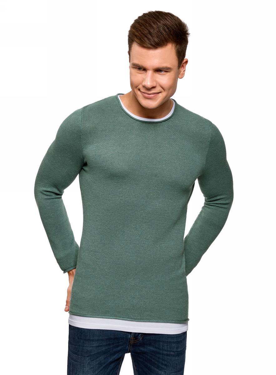 Купить Джемпер мужской oodji Lab, цвет: зеленый. 4L112191M/25545N/6D00M. Размер S (46/48)