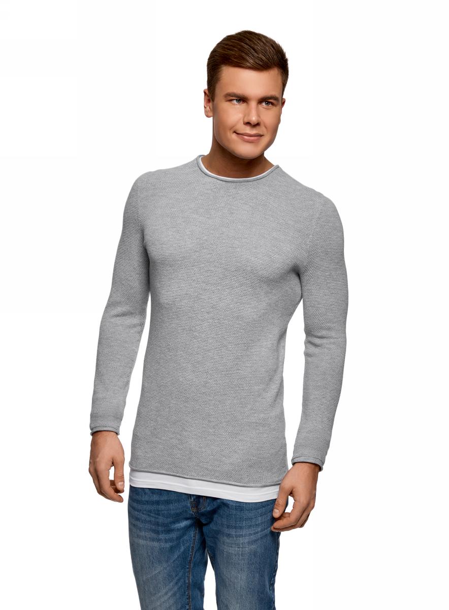 Купить Джемпер мужской oodji Lab, цвет: серый. 4L112191M/25545N/2300M. Размер S (46/48)