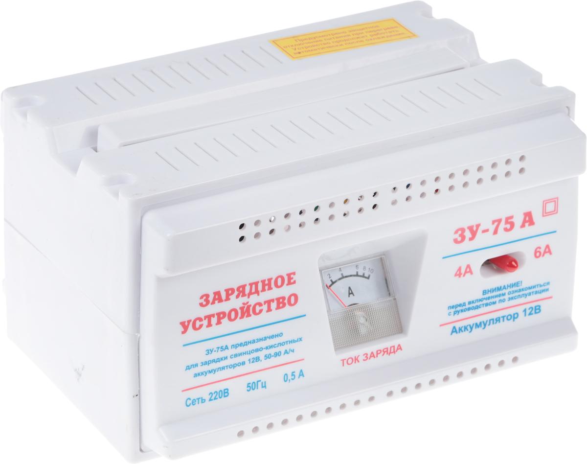 Зарядное устройство Azard ЗУ-75А, трансформаторноеZAR001;ZAR001Трансформаторное зарядное устройство для АКБ. Два режима зарядного тока 4А и 6А, встроенная термозащита, защита от переплюсовки, защита от короткого замыкания, встроенный амперметр для контроля выходного тока. Заряд аккумуляторов 12В. Номинальный постоянный выходной ток (ток заряда) – 6±0,5 А. Номинальная потребляемая мощность ЗУ при максимальном токе заряда 6А, не более – 100Вт. Емкость заряжаемого аккумулятора: 45-90А·ч. Питающая сеть переменного тока: 220В, 50Гц.