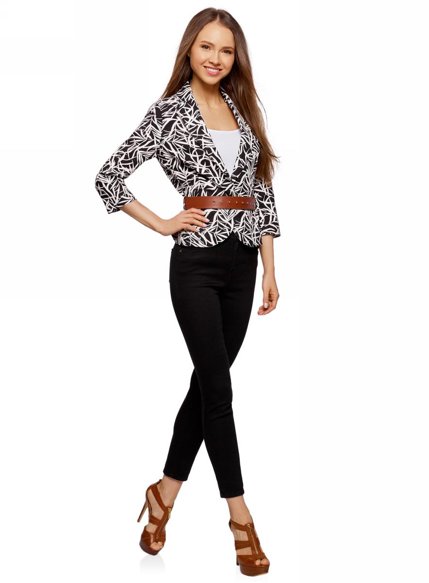 Купить Жакет женский oodji Collection, цвет: черный, белый. 21202076-2/45503/2912F. Размер 46 (52-170)