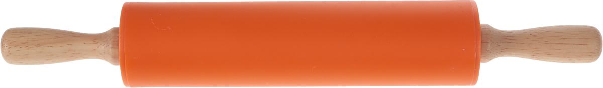 Скалка Доляна Валенсия, цвет: оранжевый, 30 х 4 см851318_оранжевыйСкалка Доляна Валенсия - необходимый на кухне предмет. Изделие из силикона представляет собой усовершенствованную версию привычного инструмента. Яркий дизайн делает предмет украшением арсенала каждого повара. Готовку облегчают удобные ручки.