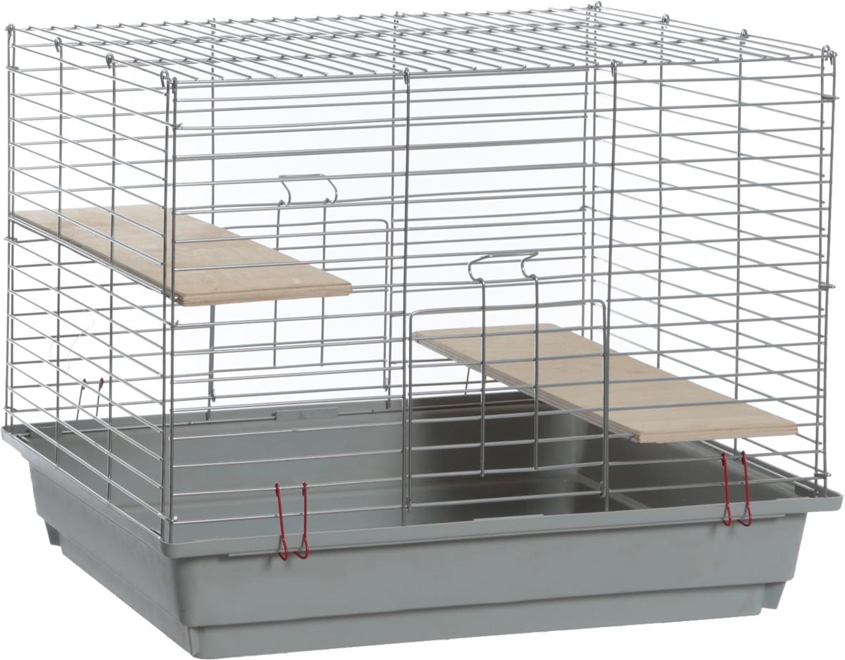 Клетка для грызунов  Велес , с полками, цвет: серый, 40 х 58 х 45 см - Клетки, вольеры, будки