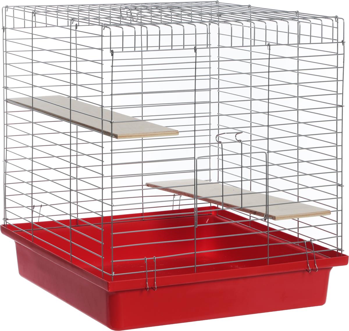 Клетка для шиншилл Велес Lusy Jerry, разборная, цвет: красный, 56 х 50 х 60 см клетка для грызунов велес lusy hamster 2 2 этажная цвет синий бирюзовый 35 х 26 х 26 см