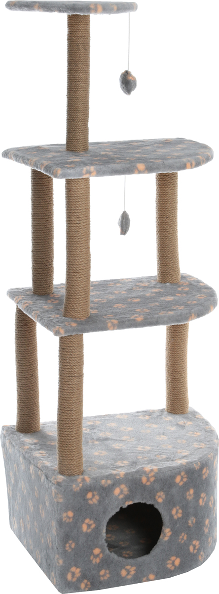 Домик-когтеточка Меридиан Лапки, угловой, 4-ярусный, цвет: серый, бежевый, 55 х 48 х 158 см домик когтеточка меридиан угловой 4 ярусный цвет тигровый 55 х 48 х 158 см