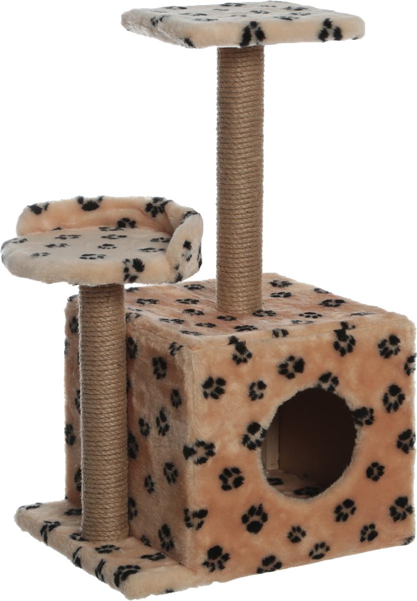 Игровой комплекс для кошек Меридиан, с домиком и когтеточкой, цвет: бежевый, черный, 35 х 45 х 75 см small vacuum pump 617cd32 small ac oil free vacuum pump