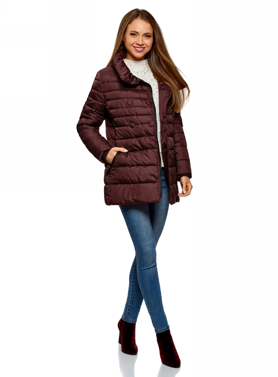 Куртка женская oodji Ultra, цвет: бордовый. 10201032-2B/32754/4900N. Размер 38 (44-170) женская утепленная куртка playboy 11237031