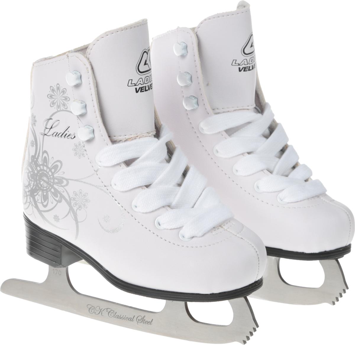 Коньки фигурные для девочки CK Ladies Velvet Classic, цвет: белый, серебряный. Размер 27