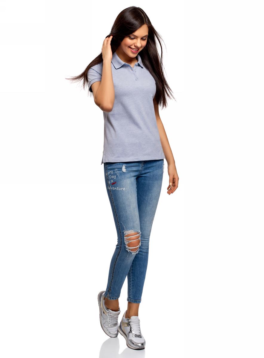 Поло женское oodji Ultra, цвет: голубой. 19301010B/46161/7000M. Размер XXS (40)19301010B/46161/7000MБазовое поло от oodji выполнено из натурального хлопка. Модель с короткими рукавами и отложным воротником на груди застегивается на пуговицы.