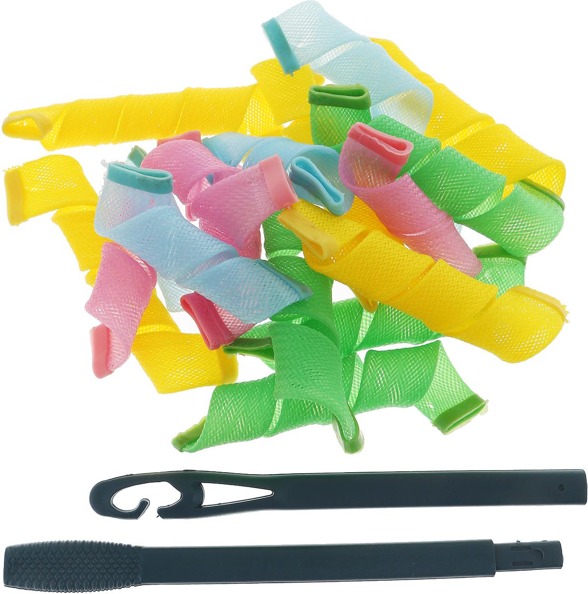 Magic Leverag Бигуди средние 25 см, 18 шт., цвет: желтый, зеленый, голубой, розовыйСр25_желтый, зеленый, голубой, розовыйНабор бигудей Magic Leverage является простым и легким способом всегда выглядеть безупречно стильно! Magic Leverage выполнены из прочных полимерных волокон с силиконовыми наконечниками, что позволяет имслужить долго, выдерживают температуру 100°C и подходят как для укороченных, так и для длинных волос. Ваша прическа зависит только от вашей фантазии и настроения!Преимущества волшебных бигудей Magic Leverag:Создают большой объем.Удобны и легки в использовании. Справится даже ребенок! Подходят какдля коротких, так и для длинных волос (в комплекте бигуди подлиннее и покороче).Позволяют легкоконтролировать направление и равномерность укладки без заломов.Обеспечивают бережное отношение кволосам.Смена имиджа за час.Процесс накручивания бигудей Magic Leverage никогда не утомит вас. Экономия времени и денег на дорогих салонах.Возможны любые прически: от струящихся локонов, дофиксированных вечерних и свадебных причесок.Волшебные бигуди Magic Leverage - это здороваяальтернатива химической завивке.К бигудям прилагается специальный крючок для протягивания пряди внутрь бигуди. Характеристики:Материал: полиэстер, силикон, пластик. Длина большей бигуди (в нерастянутом виде): 13 см.