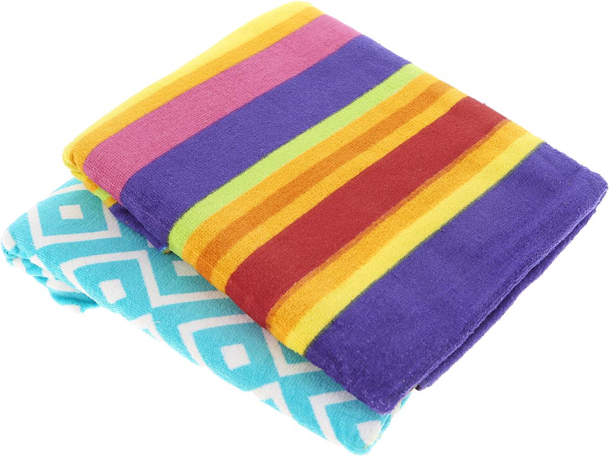 Набор пляжных полотенец  Bonita ,цвет: оранжевый, бирюзовый, 75 х 150 см, 2 шт -  Полотенца
