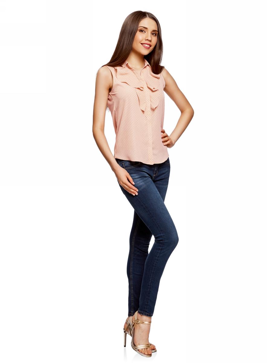 Блузка женская oodji Collection, цвет: бежевый. 21411108/36215/3329D. Размер 40 (46-170)
