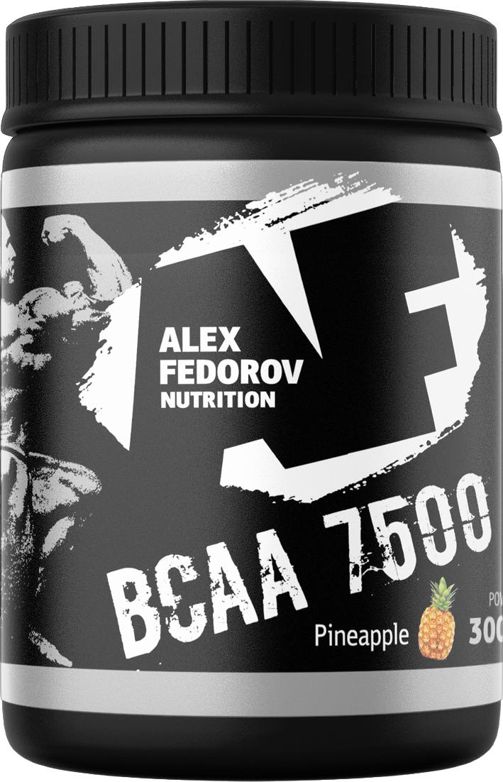 Комплекс незаменимых аминокислот Alex Fedorov Nutrition Bcaa 7500, ананас, 300 г4627121420294Комплекс незаменимых аминокислот Alex Fedorov Nutrition Bcaa 7500 повышает выносливость, снижает утомление, предохраняет мышцы откатаболических процессов, улучшает освоение аминокислот и участвуют в процессе метаболизма.Комплекс содержит витамины В6, С, цитруллин.Для увеличения эффекта «пампинга» оптимально сочетается с Creaton.