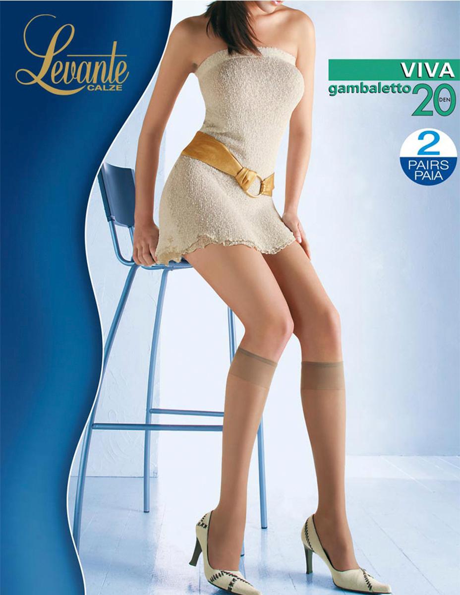 Гольфы женские Levante Viva 20, цвет: Nero (черный), 2 пары. Размер универсальныйViva 20Шелковистые, матовые гольфы с лайкрой. Модель с эластичной резинкой Top Comfort.