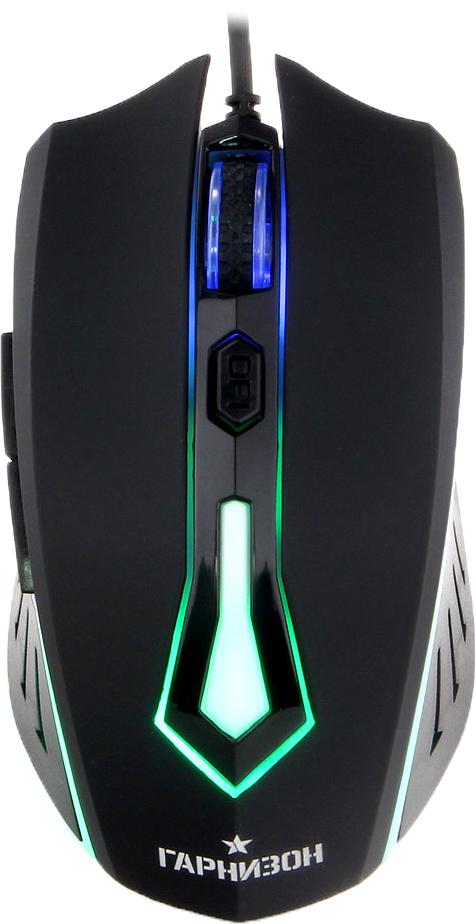 Гарнизон GM-700G Алкес, Black игровая мышьGM-700GГарнизон GM-700G Алкес - это игровая проводная мышь с 5-ю кнопками, колесом прокрутки и интерфейсом подключения USB.Эргономичный корпус с покрытием софт тач крепко сидит под пальцами и не скользит. Дополнительный комфорт обеспечивает регулируемая точность сенсора, разрешение которого варьируется до 1600 dpi.Надежный канал связи гарантирует моментальную реакцию на каждое действие, что особо важно для динамичных игр. Боковые клавиши позволяют быстро перемещаться по страницам в браузере, назад и вперед.