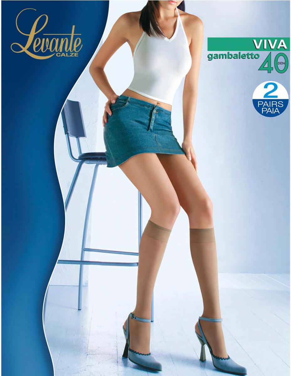 Гольфы женские Levante Viva 40, цвет: Glace (темно-бежевый), 2 пары. Размер универсальныйViva 40Шелковистые, матовые гольфы с лайкрой. Модель с эластичная резинкой Top Comfort.