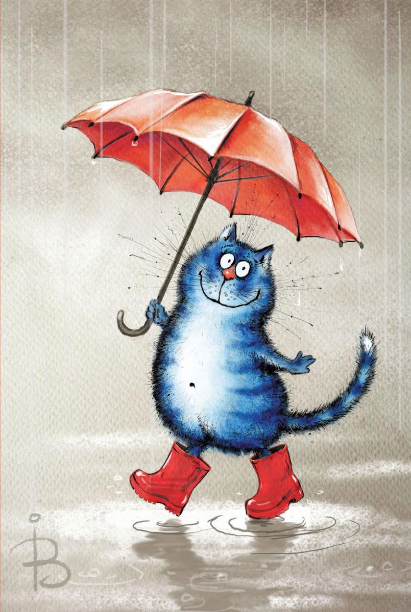 Открытка сувенирная Кот с зонтиком273786Открытка – поздравительная карточка, которая прочно вошла в быт человека. Не обязательно дарить дорогой подарок, главное внимание, достаточно выбрать подходящую картинку на открытке и вручить дорогому человеку.