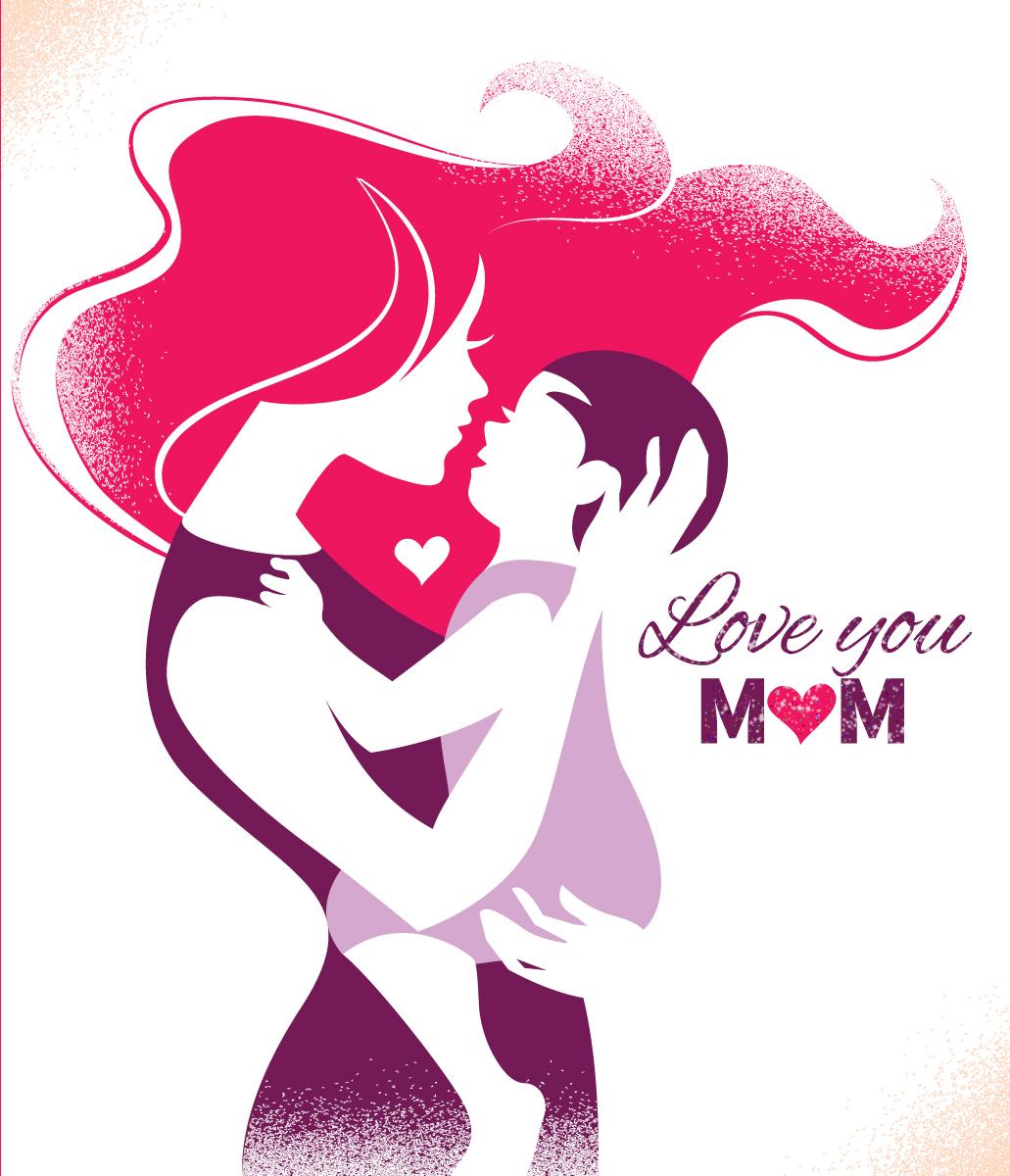 """Открытка сувенирная """"Love You Mom"""""""