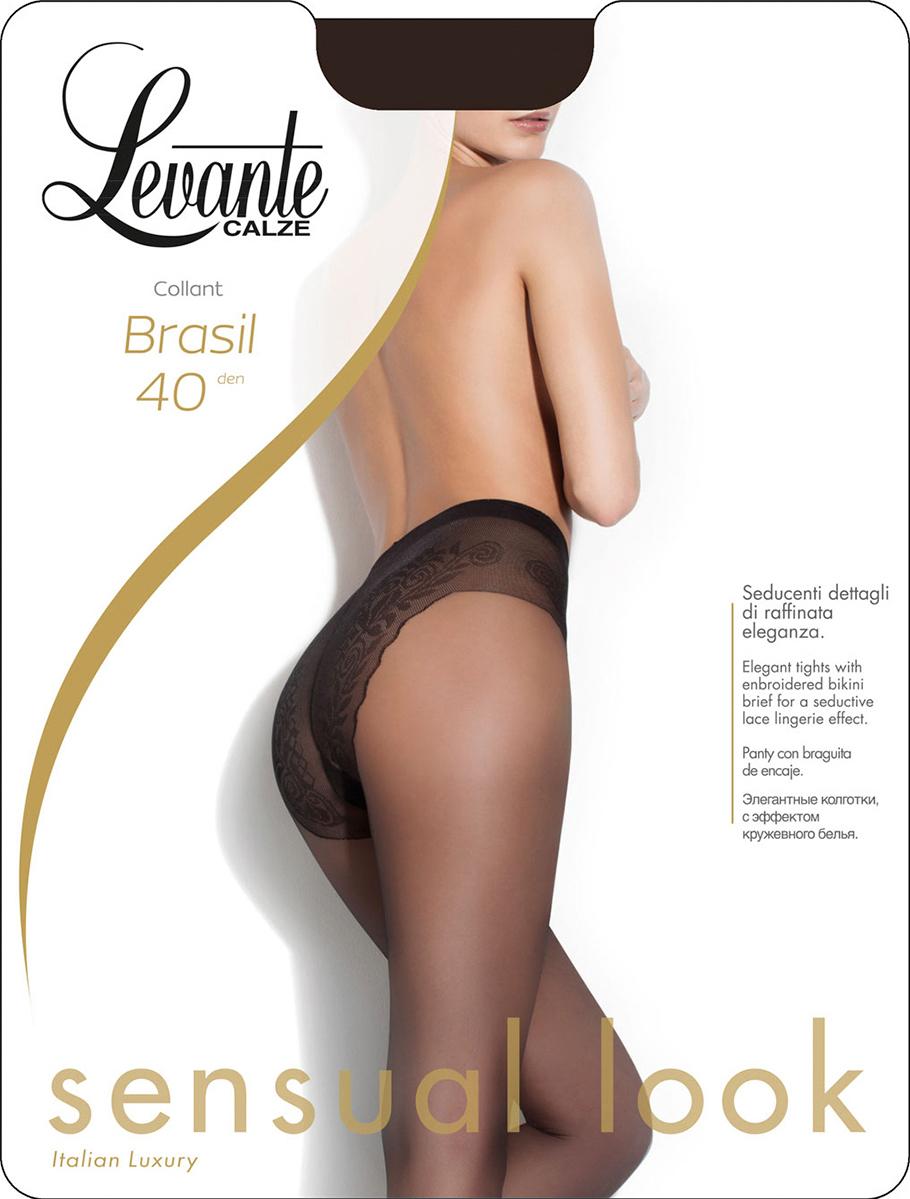 Колготки женские Levante Brasil 40, цвет: Glace (темно-бежевый). Размер 4Brasil 40Матовые шелковистые колготки с элегантными ажурными трусиками-бикини на тюлевой основе. Хлопковая ластовица, невидимый мысок.