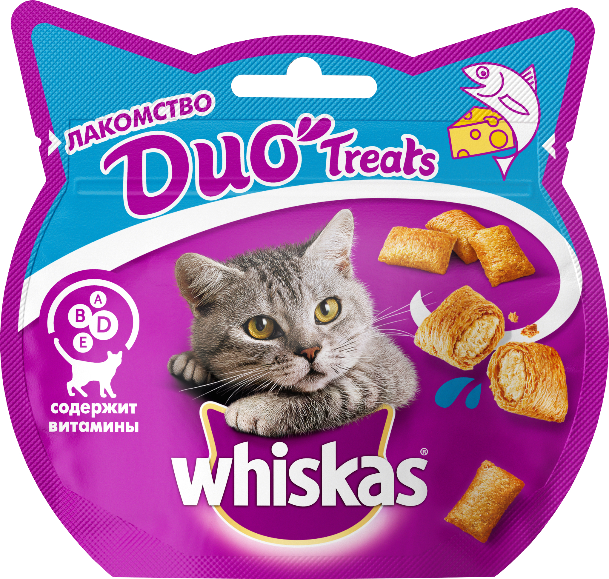 Лакомство для кошек Whiskas Du- Treats, c лососем и сыром, 40 г whiskas temptations hearty beef flavour treats for cats