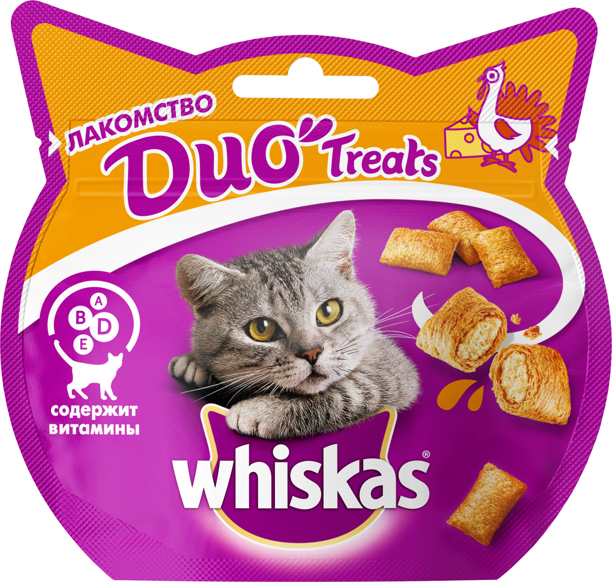 Лакомство для кошек Whiskas Du- Treats, c индейкой и сыром, 40 г whiskas temptations hearty beef flavour treats for cats