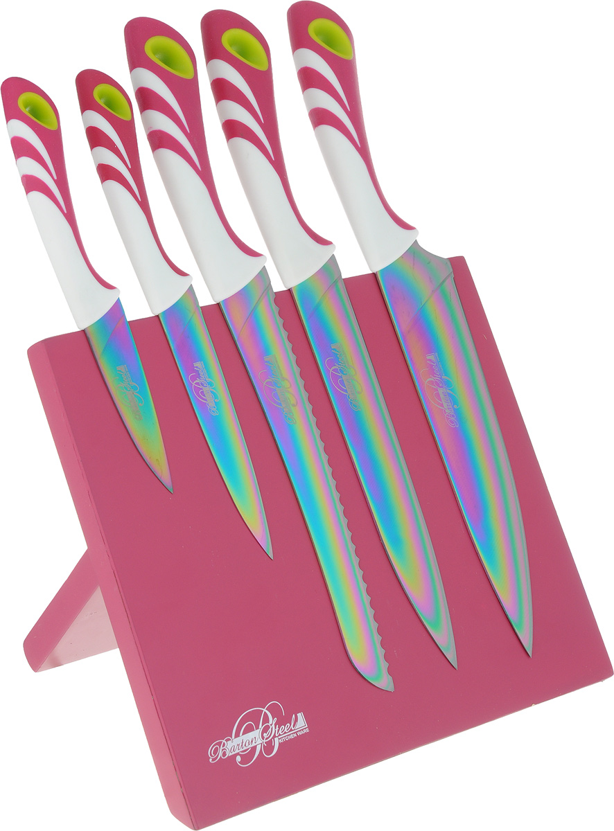 Набор ножей Barton Steel, на подставке, титановое покрытие, цвет: фуксия, 6 предметов набор ножей в подставке 5 предметов adt нео 498018