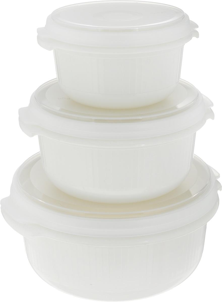 """Набор контейнеров Emsa """"Micro Familiy"""" состоит из 3 круглых контейнеров разного размера.  Контейнеры выполнены из прочного пищевого пластика без содержания BPA. Изделия имеют  плотно закрывающиеся мягкие крышки, которые позволяют продуктам дольше оставаться  свежими и защищают от попадания грязи и влаги. Набор отлично подойдет для использования  дома и на даче, контейнеры небольших размеров удобно брать с собой на работу или учебу.   Изделия можно использовать в СВЧ при температуре до +110°С, ставить в холодильник при  температуре -40°С, а также мыть в посудомоечной машине. Крышки выдерживают температуру от  -40°С до +80°С.  Объем контейнеров: 500 мл, 1 л, 1,5 л.  Диаметр контейнеров (с учетом крышки): 12 см, 15 см, 18,5 см. Высота контейнеров (с учетом крышки): 7 см, 8,5 см, 9,5 см."""