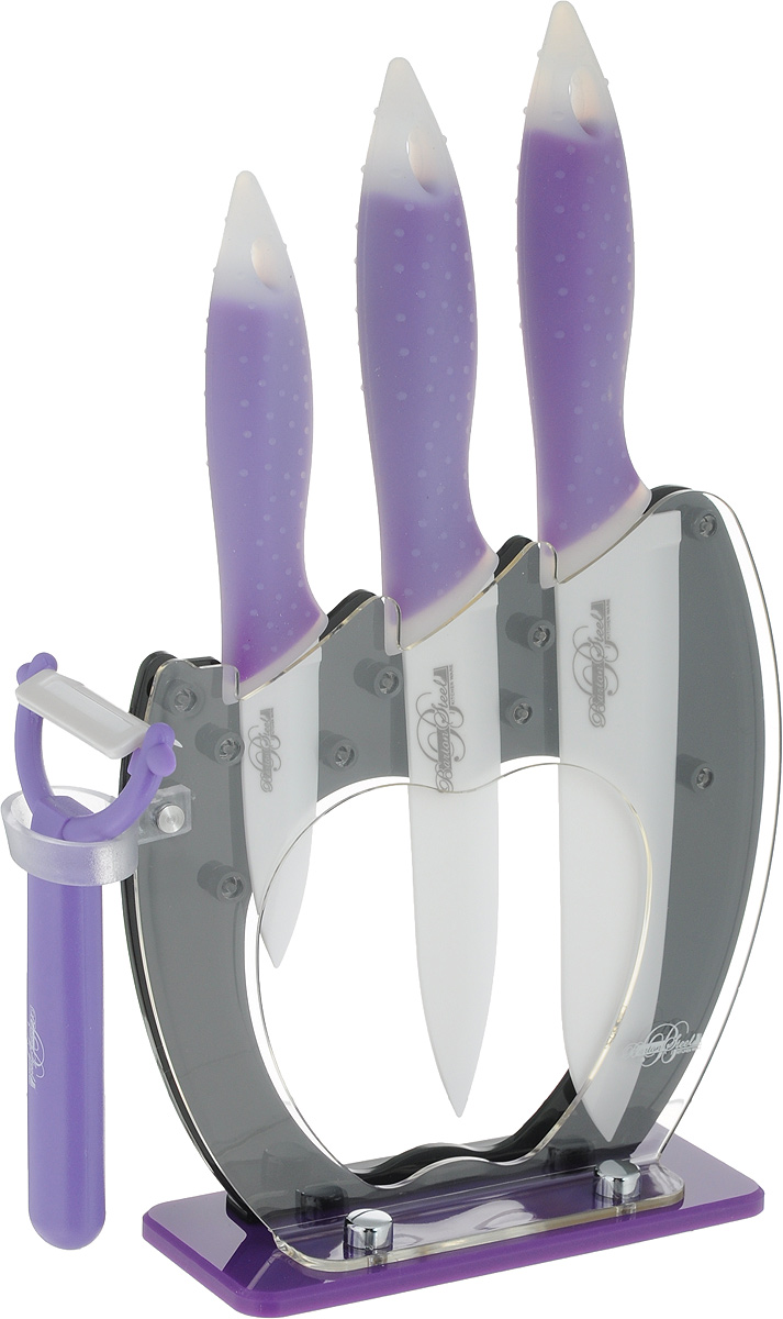 Набор ножей Barton Steel, на подставке, керамическое покрытие, цвет: фиолетовый, 5 предметов набор ножей bayerhoff на подставке 6 предметов bh 5101