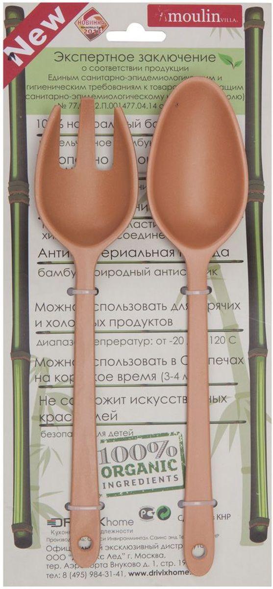 Набор ложка и вилка MoulinVilla, цвет: бежевый, длина 24 см, 2 предметаTSF-04-brНабор MoulinVilla, состоящий из ложки и вилки, сделан из экологически чистой бамбуковой фибры. Товары из бамбука - это яркий стильный дизайн и высокая функциональность.Можно мыть в посудомоечной машине.