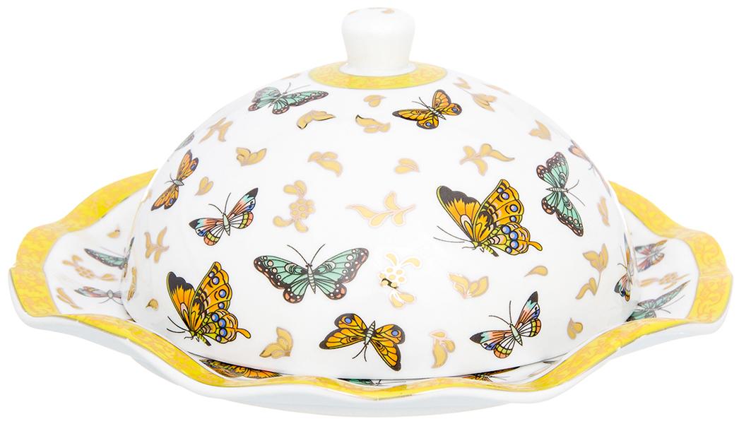 Масленка Elan Gallery Бабочки, цвет: белый, желтый, 19 х 19 х 8,5 см180914Масленка специально предназначена для хранения масла. Сохранит его натуральный запах и насыщенный вкус при хранении в холодильнике. А на столе будет смотреться просто замечательно!