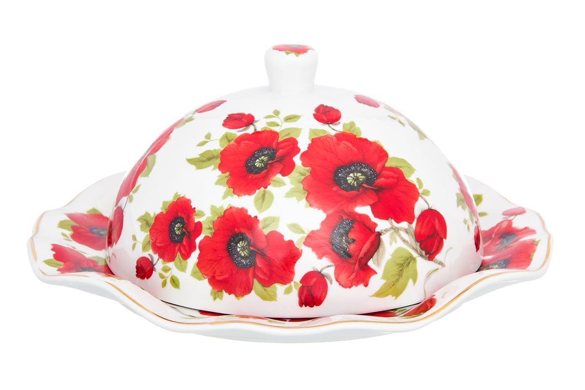 Масленка Elan Gallery Маки, цвет: белый, красный, 19 х 19 х 8,5 см