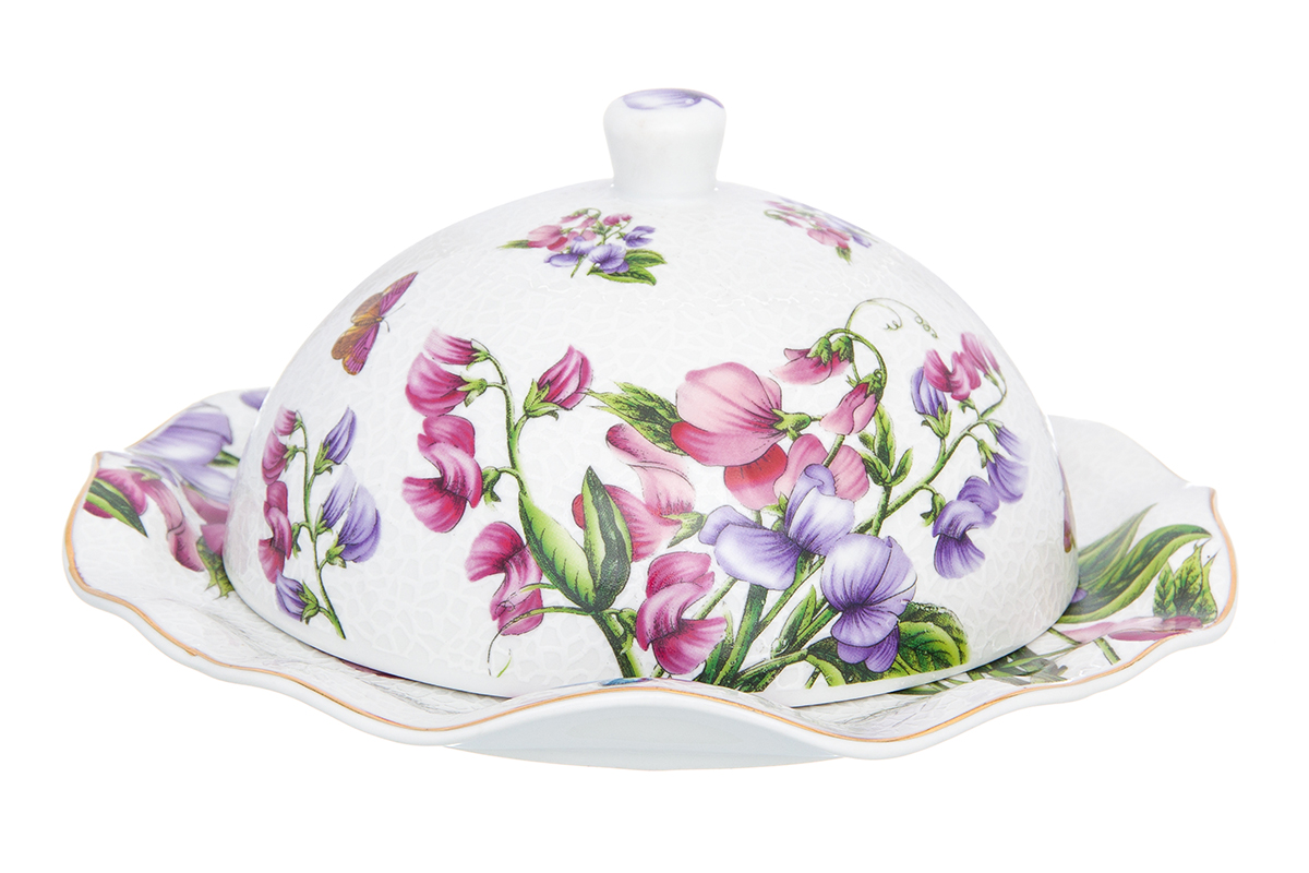 Масленка Elan Gallery Душистый горошек, цвет: белый, розовый, 19 х 19 х 8,5 см