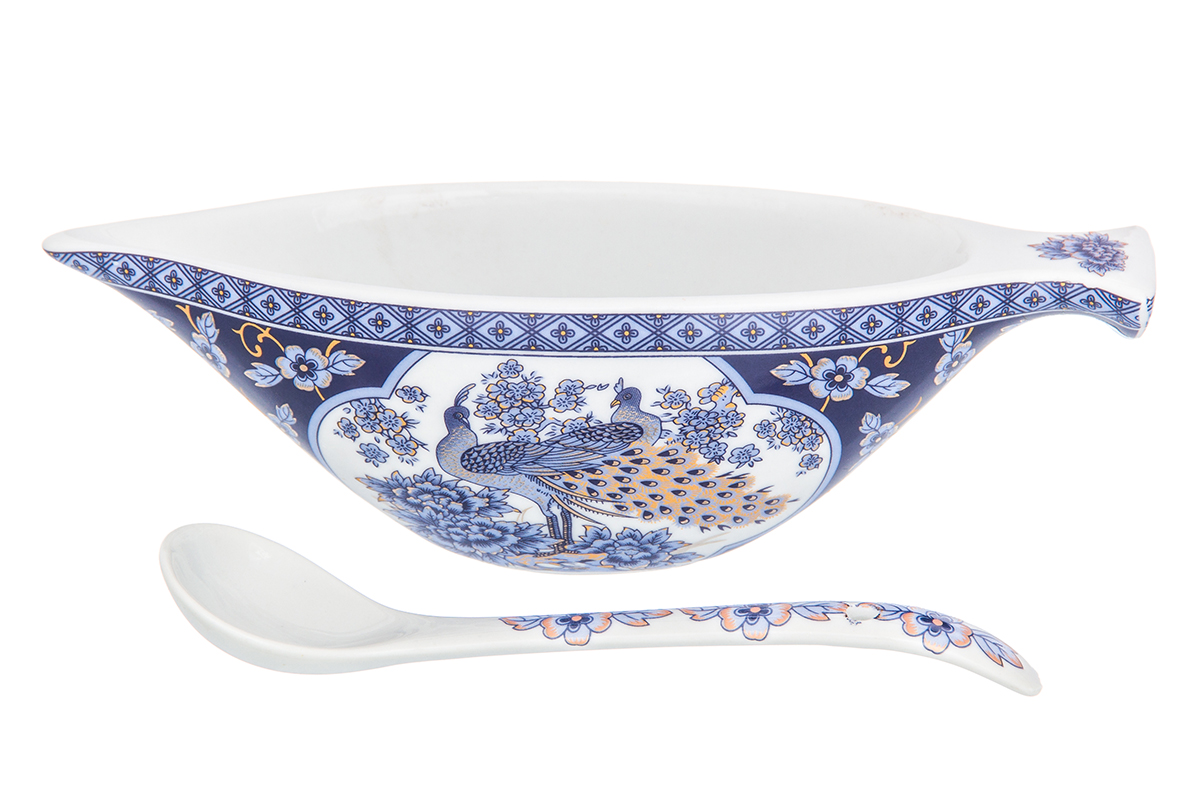 Икорница Elan Gallery Павлин синий, с ложкой, цвет: белый, синий, 100 мл180960Икорница идеально подойдет для сервировки стола и станет оригинальным и полезным подарком к любому празднику.