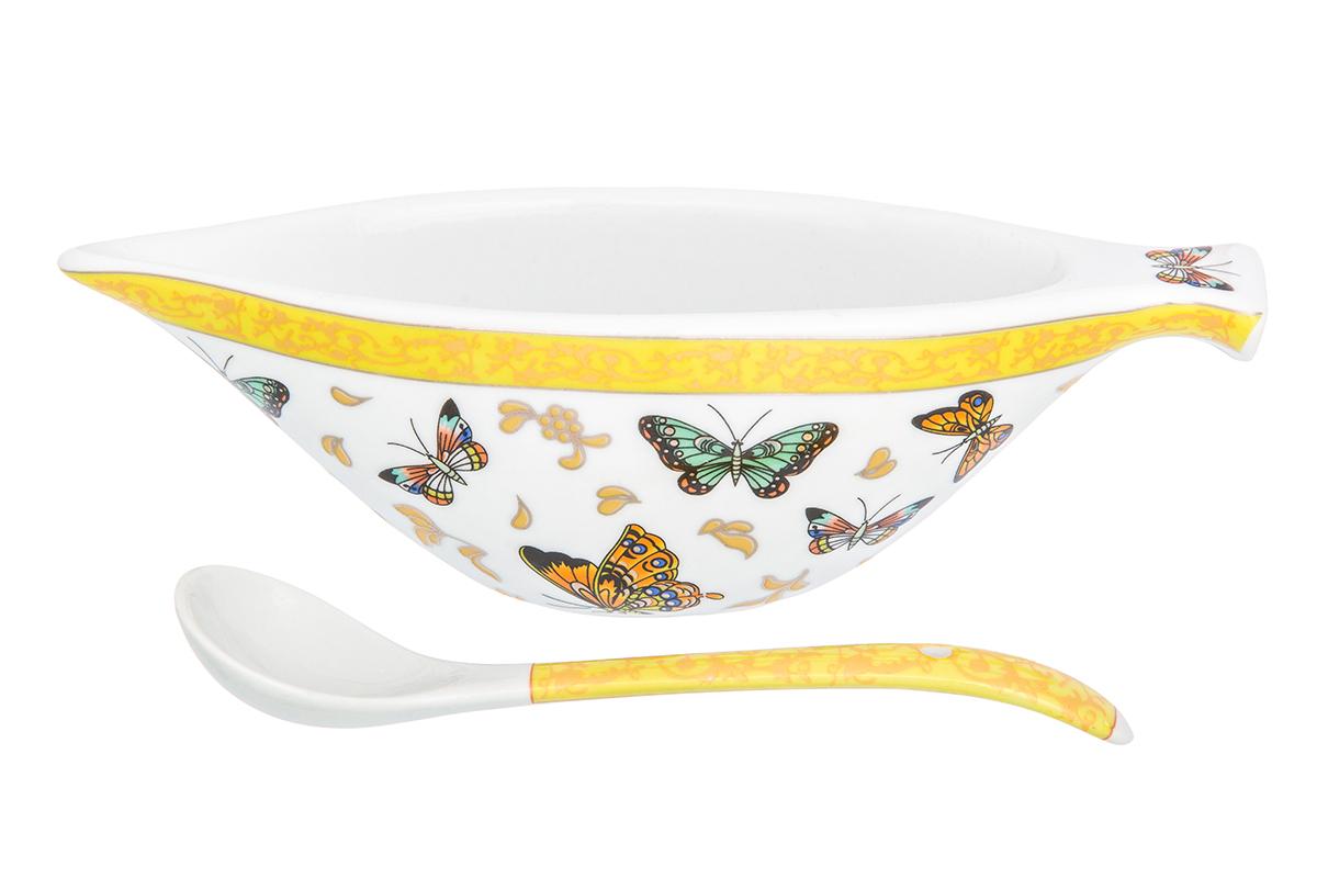 """Икорница Elan Gallery """"Бабочки"""" с ложкой идеально подойдет для сервировки стола и станет оригинальным и полезным подарком к любому празднику. Изделие выполнено из фарфора."""