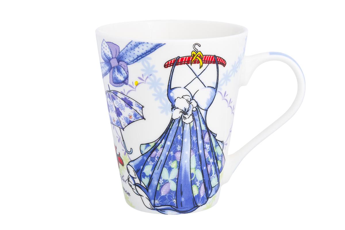 Кружка Elan Gallery Платье с зонтиком, цвет: белый, синий, 280 мл230150Оригинальная кружка имеет широкую горловину и удобную ручку для повседневного использования. Не оставит равнодушным ни одного из ваших гостей и станет прекрасным выбором для подарка любимым.
