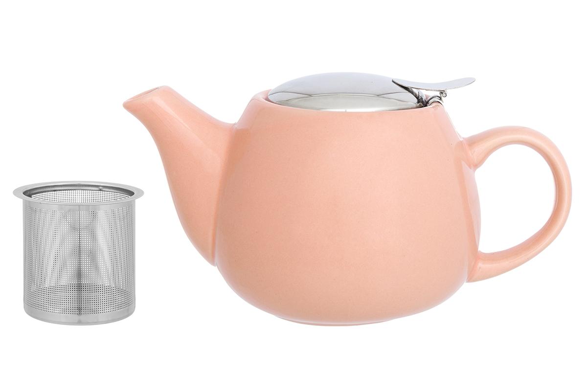 Чайник заварочный Elan Gallery, с ситом, цвет: персиковый, 650 мл230153Необычный заварочный чайник Elan Galleryукрасит сервировку стола к чаепитию. Благодаря красивому дизайну и качеству исполнения он станет хорошим подарком друзьям и близким, а металлическое сито не позволит чаинкам попасть в ваш напиток.