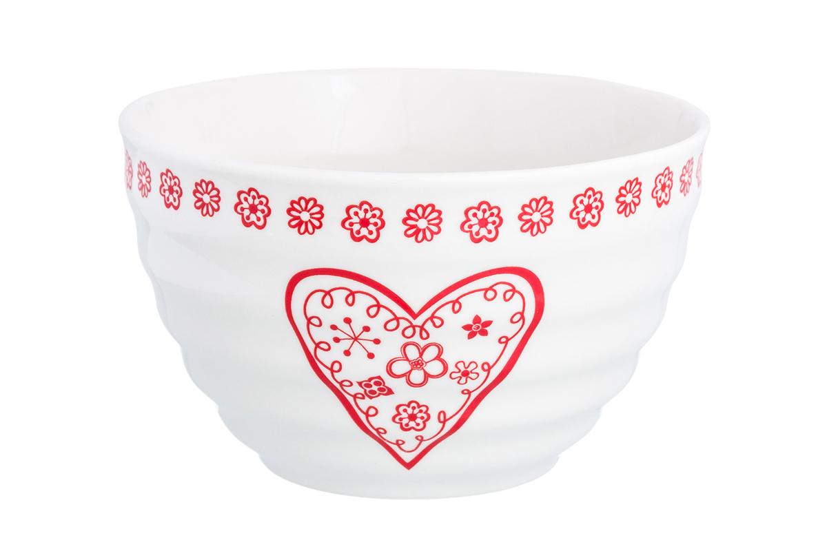 Салатник Elan Gallery Красное сердце из цветов, цвет: белый, красный, 500 мл230160Великолепный салатник идеален для сервировки салатов. Вместительный салатник станет украшением для ваших блюд.