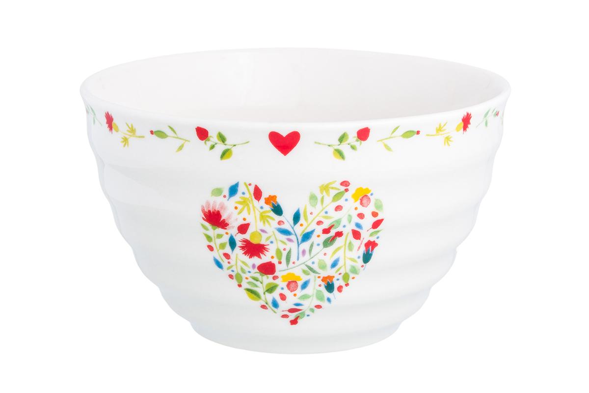 Салатник Elan Gallery Сердце из цветов, цвет: белый, 500 мл салатник elan gallery белый шиповник 850 мл