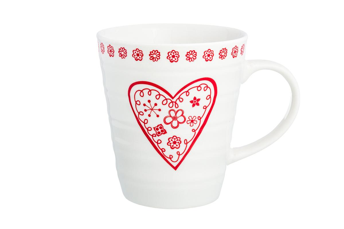 Кружка Elan Gallery Красное сердце из цветов, цвет: белый, красный, 320 мл230162Оригинальная кружка имеет широкую горловину и удобную ручку для повседневного использования. Не оставит равнодушным ни одного из ваших гостей и станет прекрасным выбором для подарка любимым.