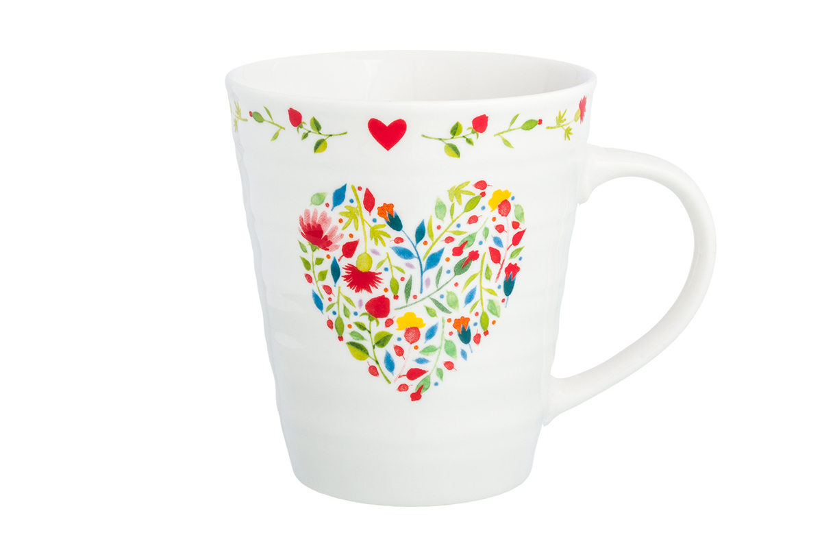 Кружка Elan Gallery Сердце из цветов, цвет: белый, 320 мл