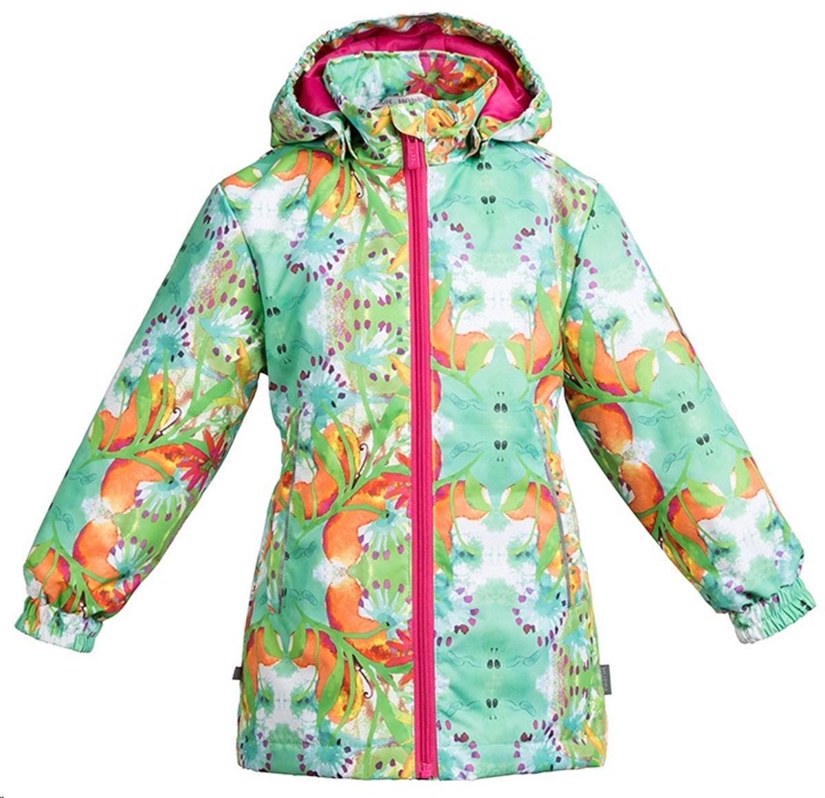 Куртка для девочки Huppa June 1, цвет: светло-зеленый. 17880104-81227. Размер 12817880104-81227Демисезонная куртка для девочек June 1. Мембранная ткань отличается высокими водо- и ветронепроницаемыми качествами. Куртка с утеплителем 40 г подходит для ношения при температуре воздуха от +5 до +15°С. Мягкая подкладка из флиса сохраняет тепло тела. Воротник-стойка, застежка на молнию. Капюшон отстегивается. По бокам он укреплен резинкой для лучшей защиты головы и ушей от ветра и дождя. Манжеты с двойной резинкой. Карманы в области талии застегиваются на молнию. На спинке вшит эластичный пояс. Светоотражающие канты и детали служат для безопасности ребенка.