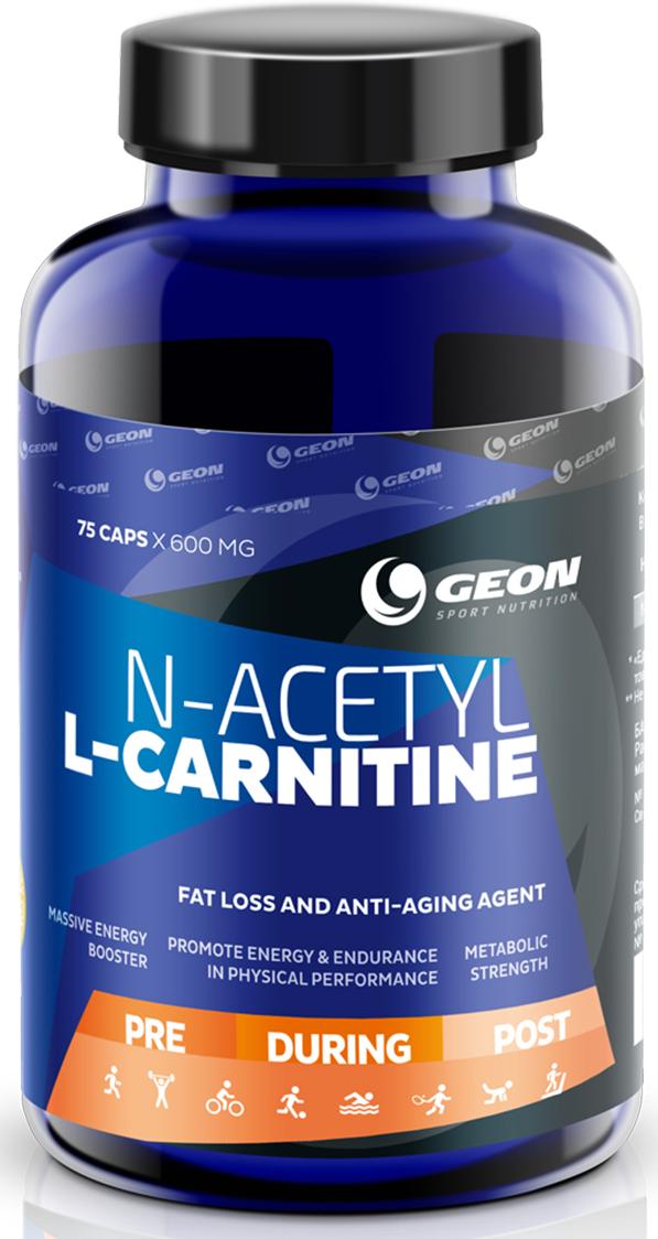 L-карнитин Geon Ацетил-Л-карнитин, 600 мг, 75 капсул l карнитин sportexpert l carnitine яблоко 1800 мг 8 флаконов x 50 мл