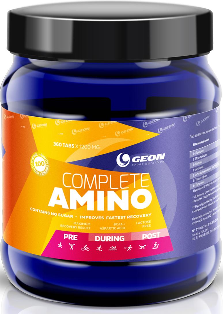 Комплекс аминокислот Geon Комплит Амино, 1200 мг, 360 таблеток540883Гидролизат изолята сывороточного белка + аминокислоты в свободной форме. Аминокислотный комплекс, вкслючающий все необходимые аминокислоты и пептиды.Состав:гидролизат сыворотчного белка, L-аланин, аспарагиновая кислота, L-треонин, L-лейцин, МКЦ, магния стеарат, желатин пищевой.