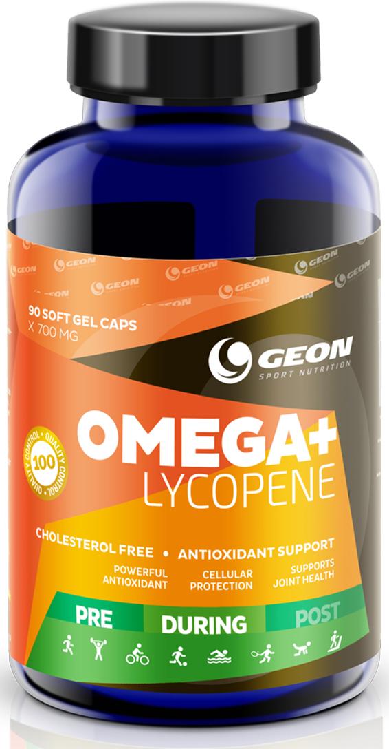 Комплекс аминокислот Geon Омега + Ликопин, 700 мг, 90 капсул540950Уникальный антиоксидантный комплекс, состоящий из OMEGA-3 жирных кислот, ликопина и витамина Е.Состав:рафинированный рыбный жир, экстракт томата, витамин Е, желатин, глицерин, вода, титана диоксид.